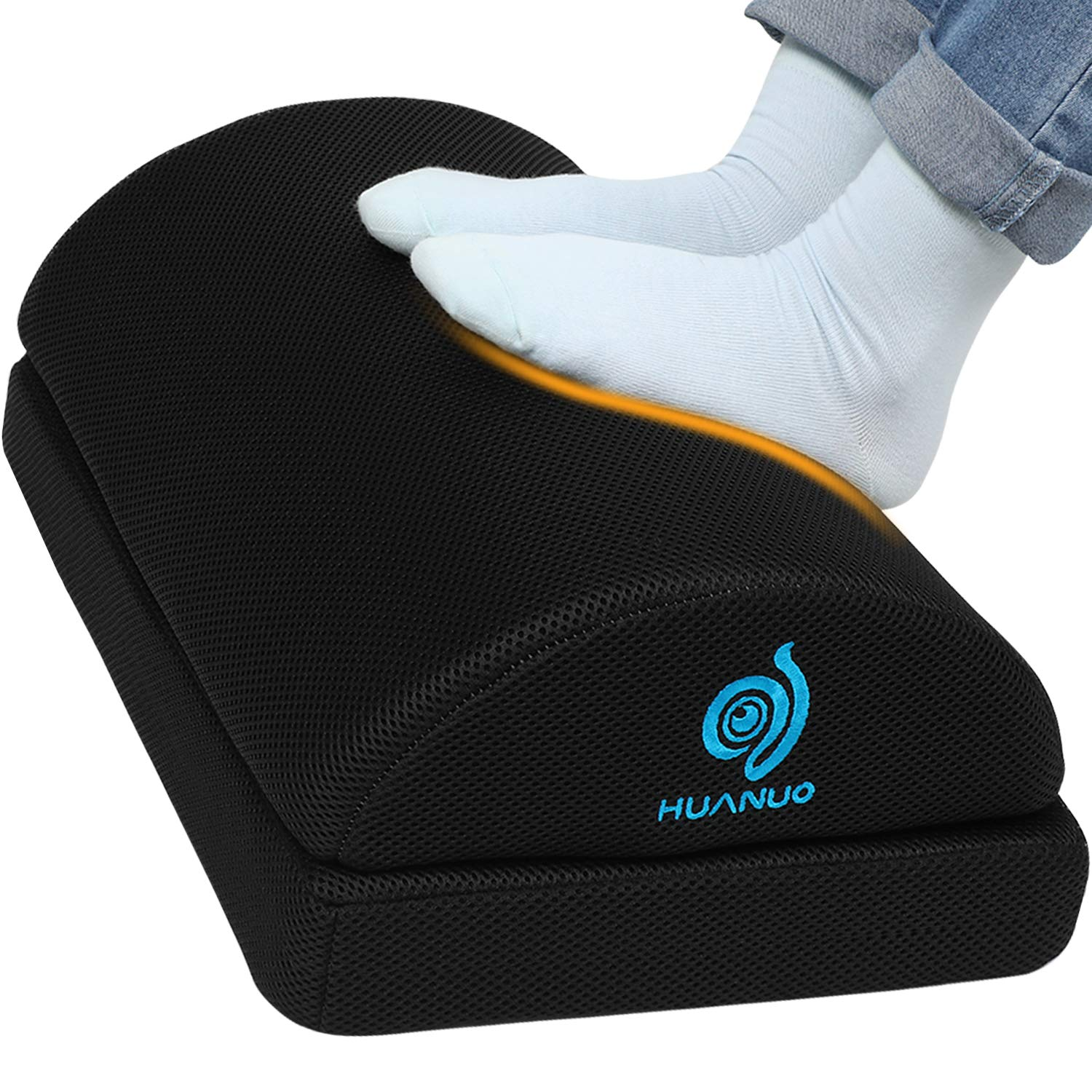 Adjustable Foot Rest - Under Desk Footrest with 2 Optional Covers for Desk, Airplane, Travel, Ergonomic Foot Rest Cushion with Magic Tape and Massaging Micro Beads for Office, Home, Plane by HUANUO by HUANUO