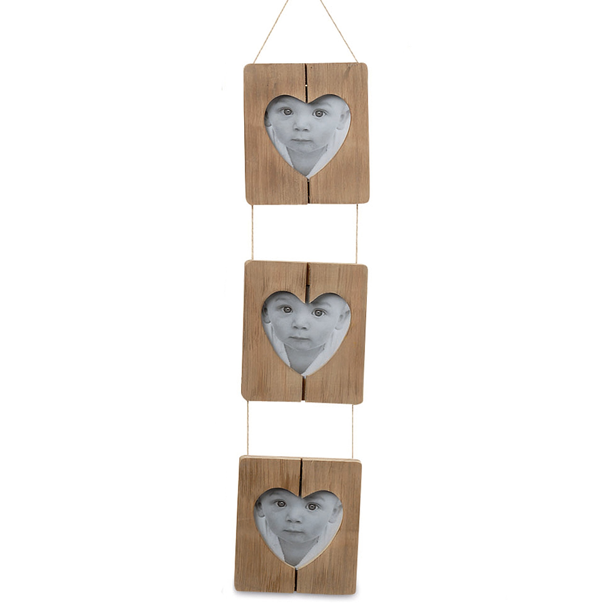 Whole House Worlds The Farmer's Market Trio of Heart Photo Frames, Shiplap, Natural Twine, Rustic Brown Pine Wood, Crafted By Hand, 4 3/4 Wide, 20 Inches Long, By