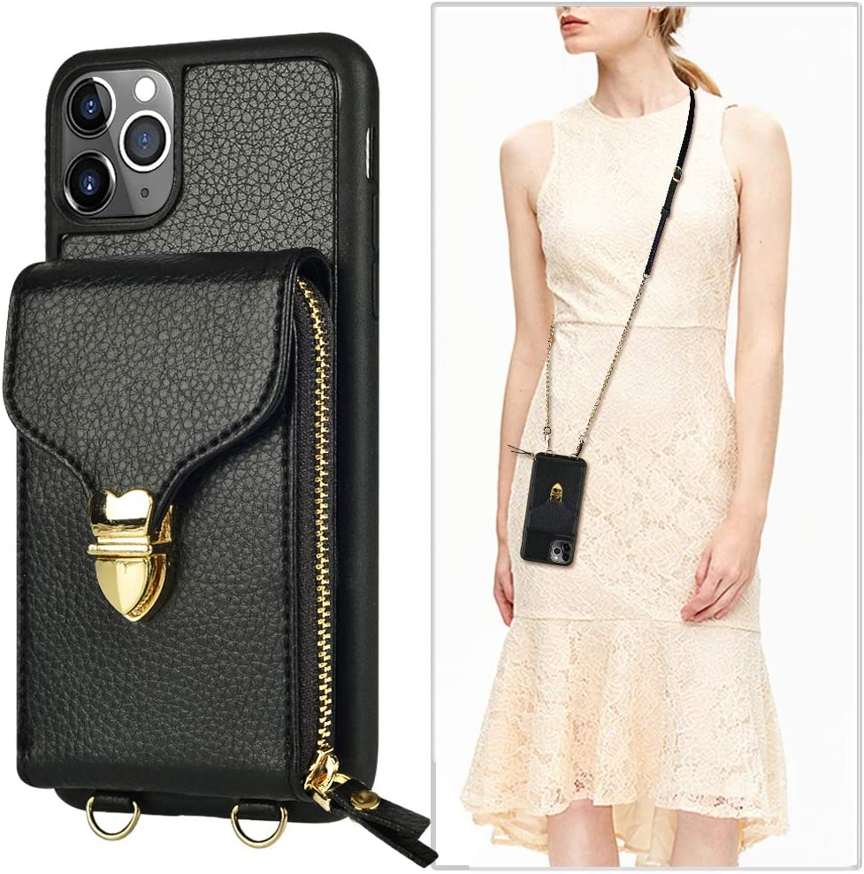 iPhone 11 Pro Max Wallet case, JLFCH iPhone 11 Pro Max Crossbody Case with Zipper Card Slot Holder Wrist Strap Shoulder Chain Leathe Handbag Purse for Apple iPhone 11 Pro Max 6.5 inch 2019 - Black
