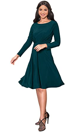 Koh Koh Womens Long Sleeve Semi Formal Flowy Party Work Knee Length