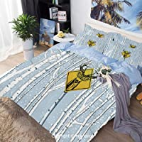 Homenon Three-Piece Bed,Attention Deer in The Woods Warning Sign Leafless Trees Winter Illustration,Twin Size,for Bedroom Guest Room,Multicolor
