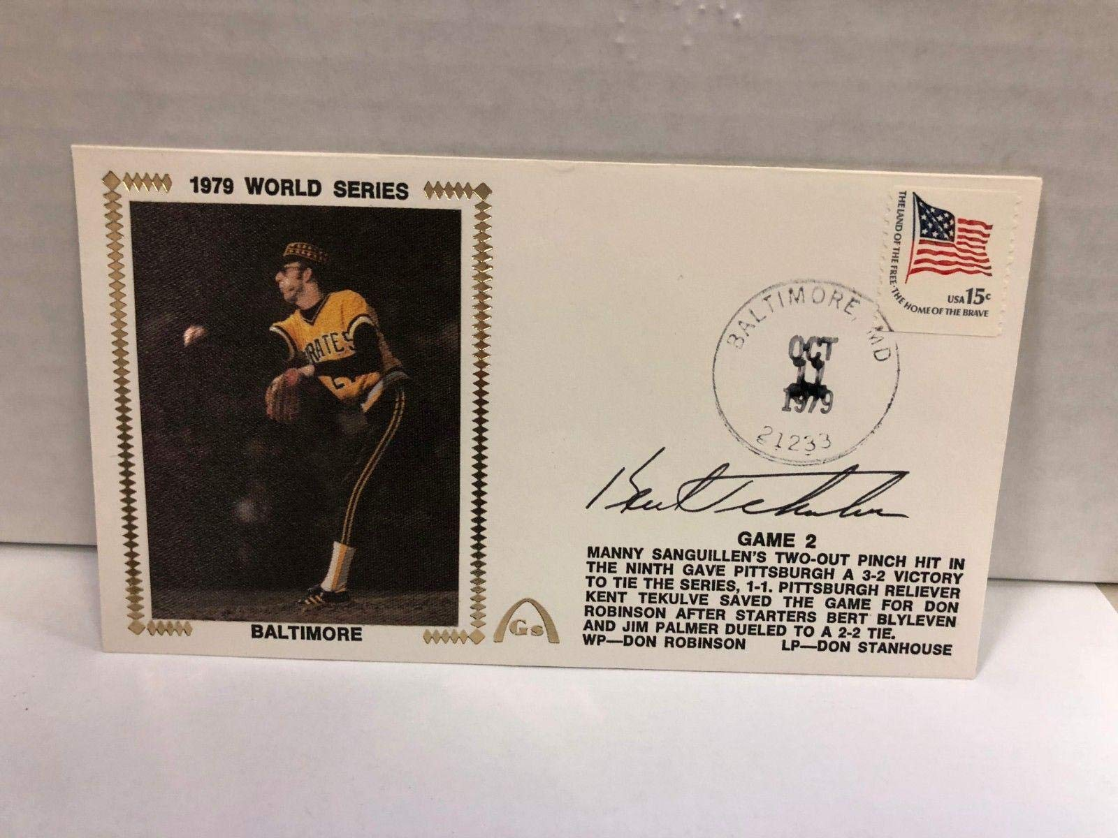 Kent Tekulve Autographed Signed Original Silk Cachet First Day Issue COA JSA Certified MLB Cut Signatures