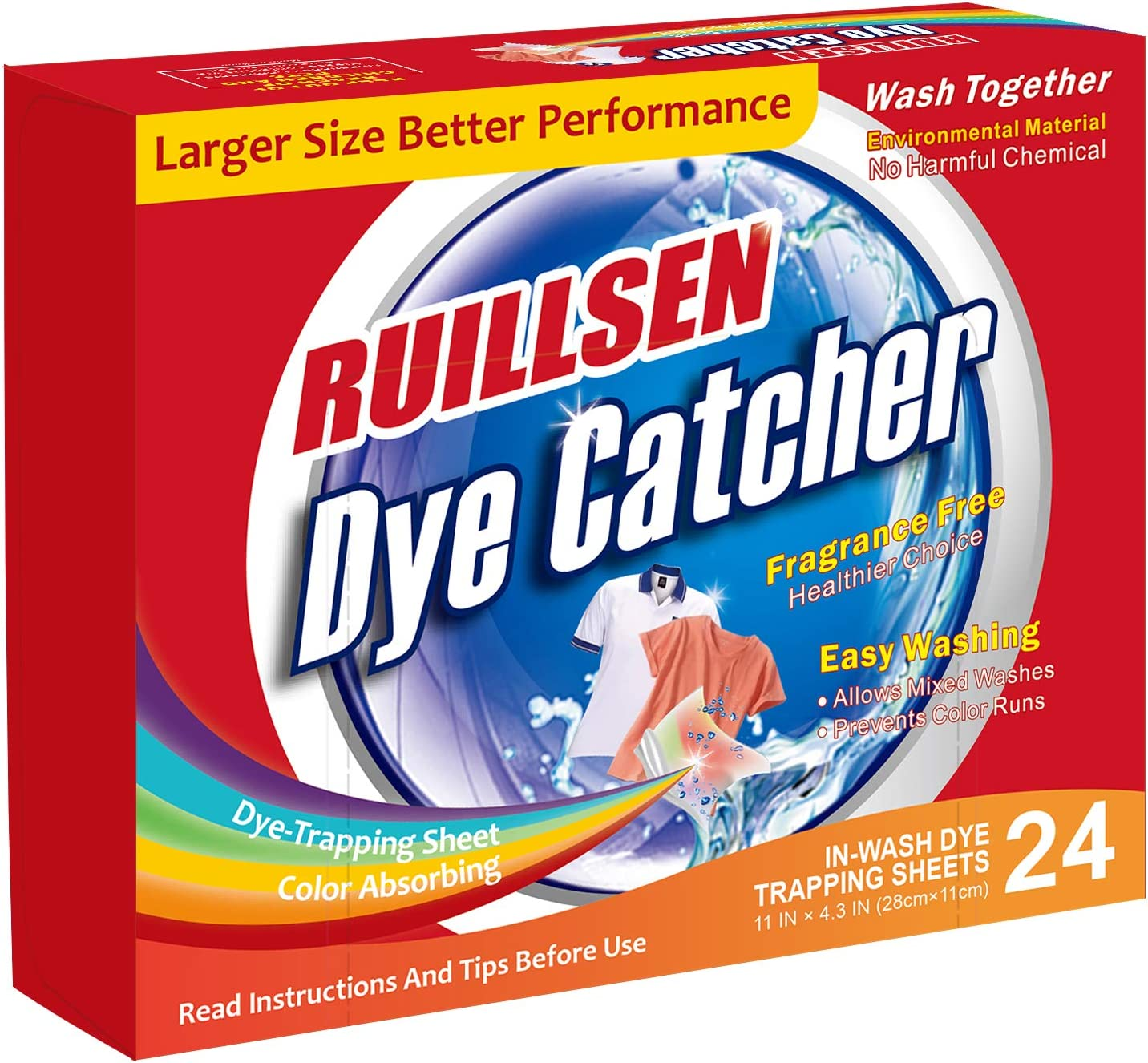 RUILLSEN Laundry Color Catcher, Father Day Summer Cool Home Household Supply Dye Trapping Sheet Dirt Color Grabber Stain Remover Sheets Combine Color Collector(Dye Catcher In Wash 24 Count Sheets)