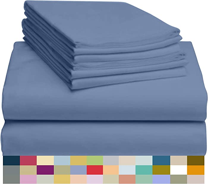 """LuxClub 6 PC Sheet Set Bamboo Sheets Deep Pockets 18"""" Eco Friendly Wrinkle Free Sheets Hypoallergenic Anti-Bacteria Machine Washable Hotel Bedding Silky Soft - Oxford Queen"""