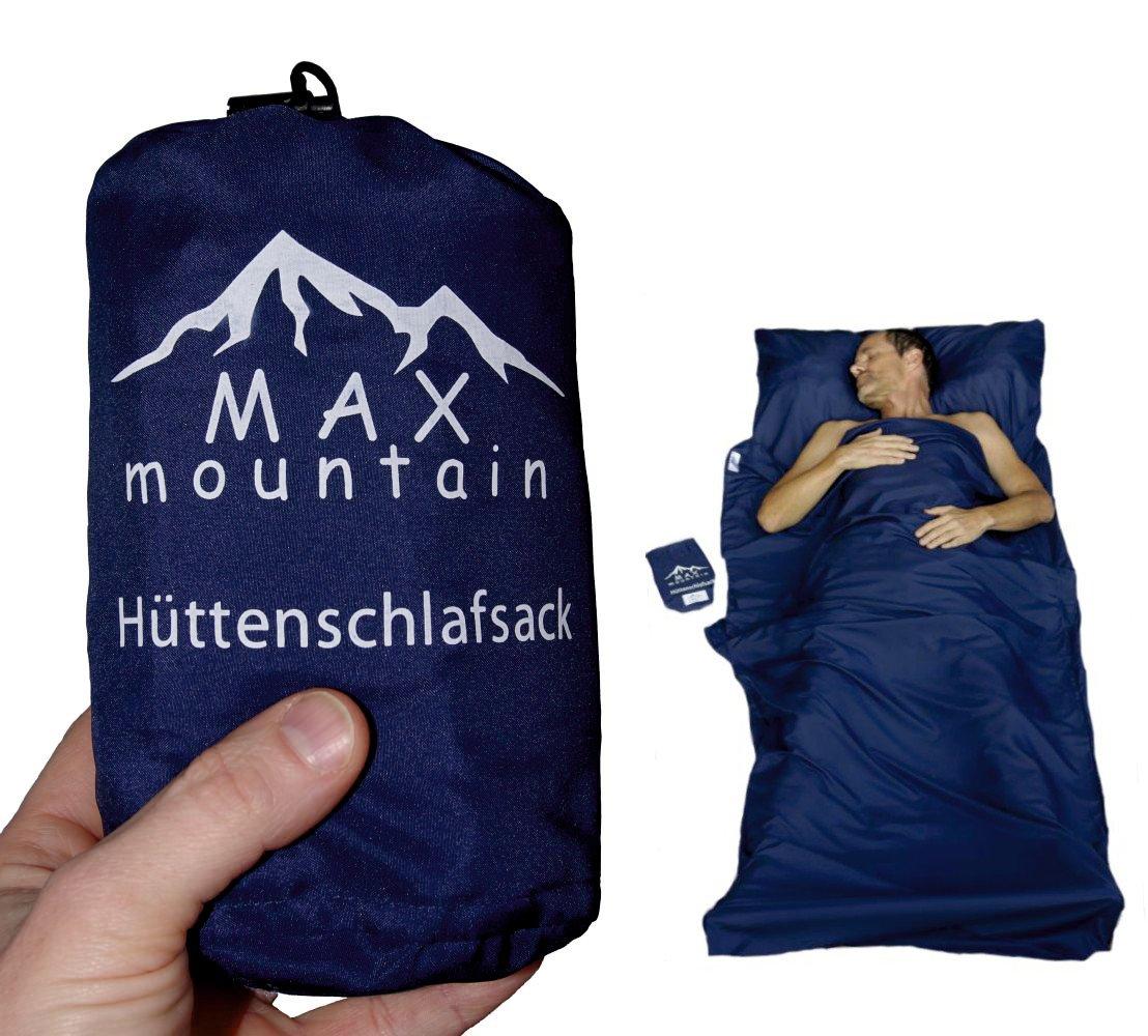 MAX mountain Saco de dormir para de microfibra, ligero, transpirable, ideal para hotel y las excursiones de senderismo, los viajes, las acampadas , azul oscuro, 220x90cm 300g SB-R01-BL