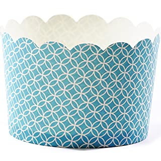 Simply Baked Jumbo Paper Baking Cups Turquoise Medallion 20-Pack Disposable and Oven-safe