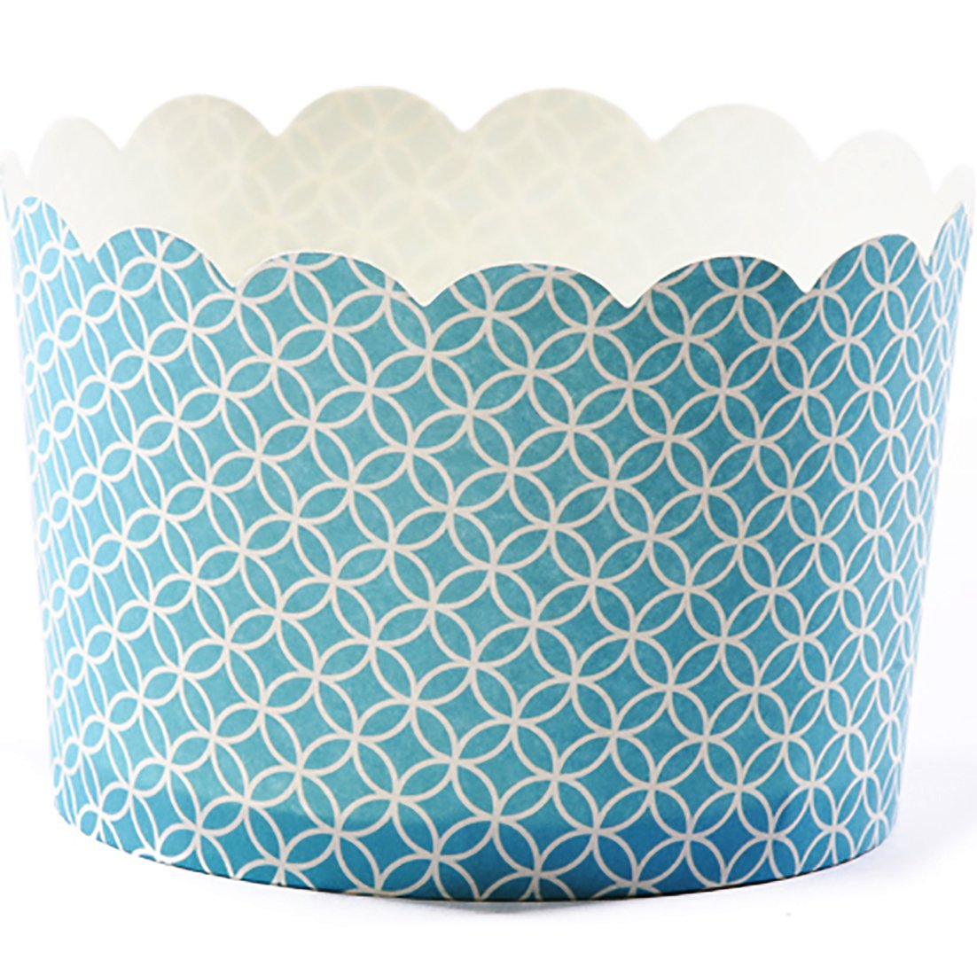Simply Baked Jumbo Paper Baking Cups, Turquoise Medallion, 20-Pack, Disposable and Oven-safe