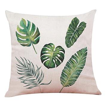 Lenfesh Fundas de Cojines Almohada de Plantas Tropicales Hoja Verde Decorativos Diseño para Sillas Camas Sofás Sofás (G)