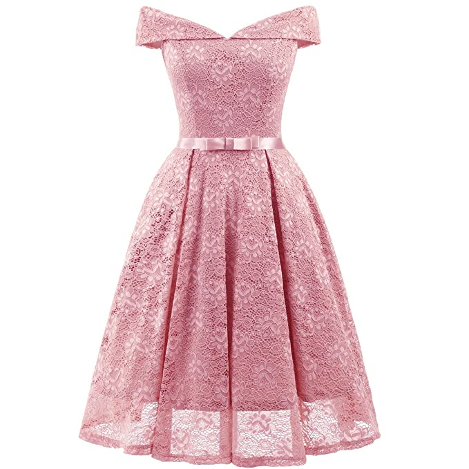 Pin Up Dresses | Pinup Clothing & Fashion SAustralia- weetmeet Womens Vintage 1950s Floral Lace Flare A-Line Dresses Shirtwaist Swing Skaters Evening Tea Dress L Pink AUD 49.30 AT vintagedancer.com