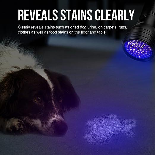 LE Linterna ultravioleta, 51 LED Linterna UV, Potente Detectar manchas de orina de mascotas, Luz negra 395nm, Pilas incluidas: Amazon.es: Bricolaje y ...