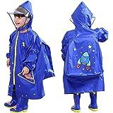 Vankra Kids Raincoat Cartoon Waterproof Hooded Rain Ponchos with School Bag Cover for Girls and Boys
