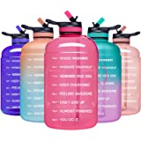 ADOLPH Large Half Gallon Motivational Water Bottle with 2 Lids (Chug and Straw), Leakproof BPA Free Tritan Sports Water Jug w