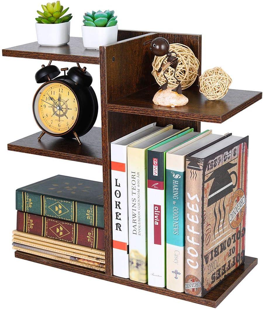 PAG Wood Desktop Shelf Small Bookshelf Assembled Countertop Bookcase Literature Holder Accessories Display Rack Office Supplies Desk Organizer, Brown