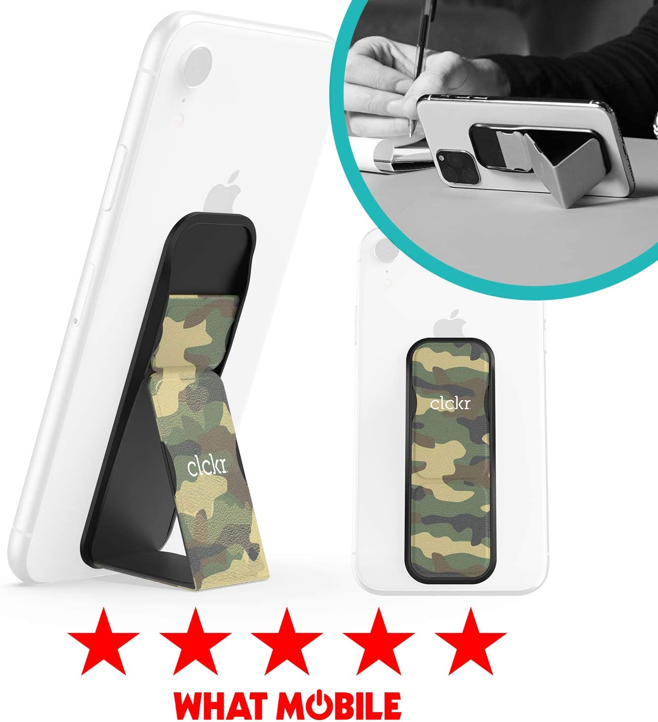 Camo Green CLCKR Phone Stand Multi Viewing Modes Compatible with Universal Devices Including iPhone 11//11 Pro//X//XS//XR Samsung Galaxy S8//S9//S10 and Many More