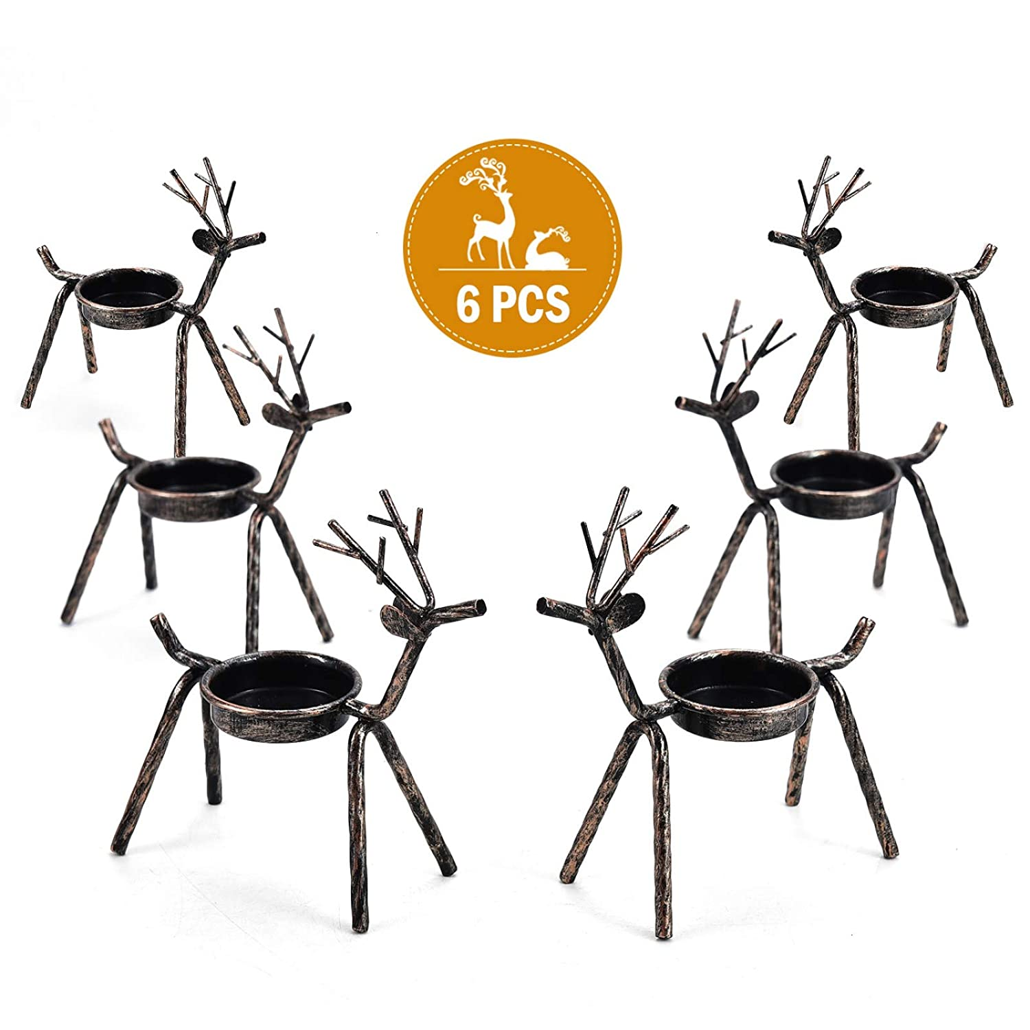 Rocinha Reindeer Candle Holder, Set of 6 Tea Candles Holders Holiday Candlestick Christmas Decoration for Home, Table, Fireplace, Window