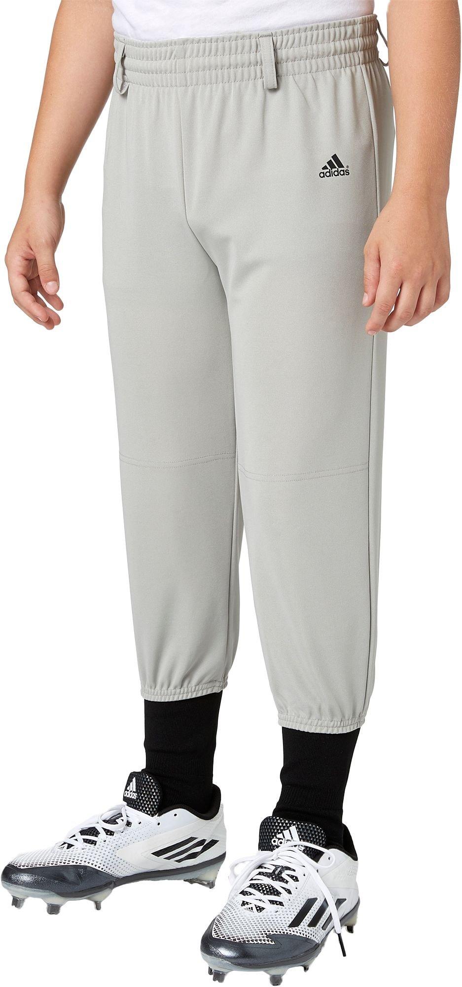 Adidas Boys' Triple Stripe Pull Up Baseball Pants (Grey Baseball, S) by adidas