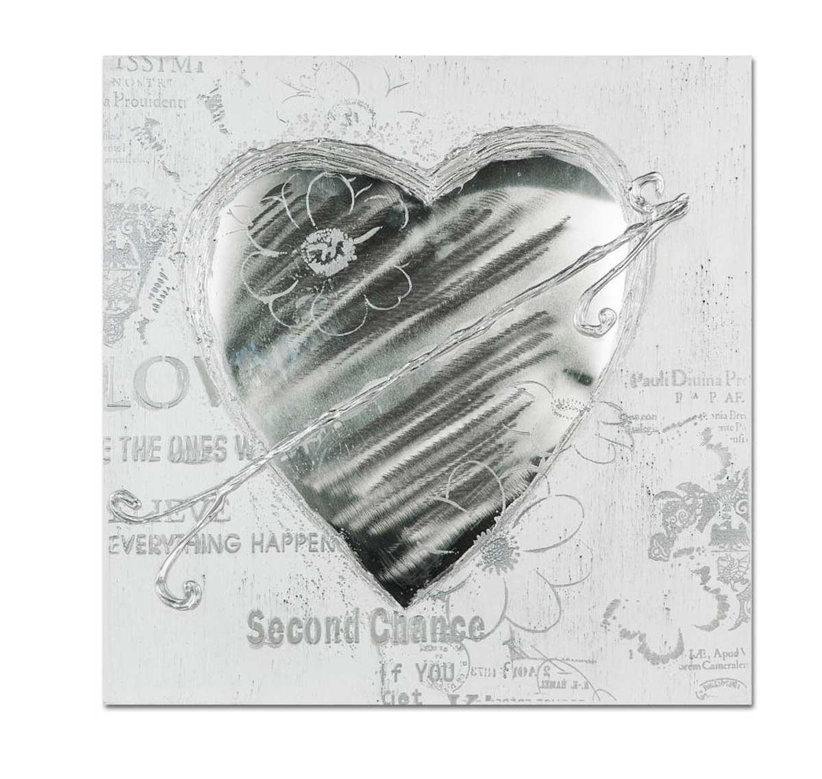 Formano Wandbild Herz Leinwand mit Aluminium Bild grau weiß Wanddeko 677358 Design mit Alu Gemälde