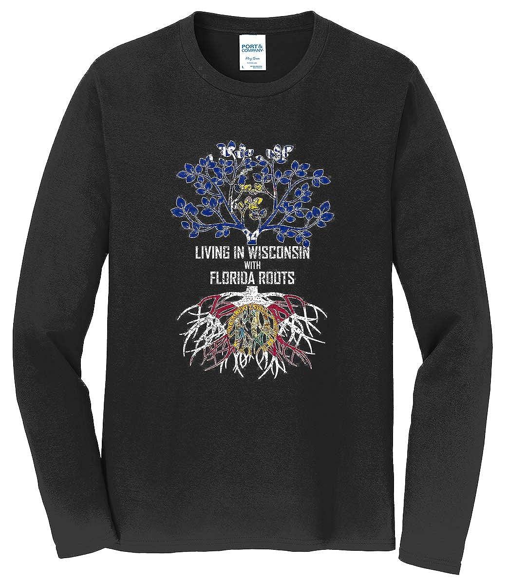 Tenacitee Mens Living in Wisconsin Florida Roots T-Shirt