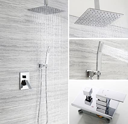 How To Install A Rain Shower Head In The Ceiling.Amazon Com Zjmsdk Ceiling Mount Bathroom Luxury Rain Mixer