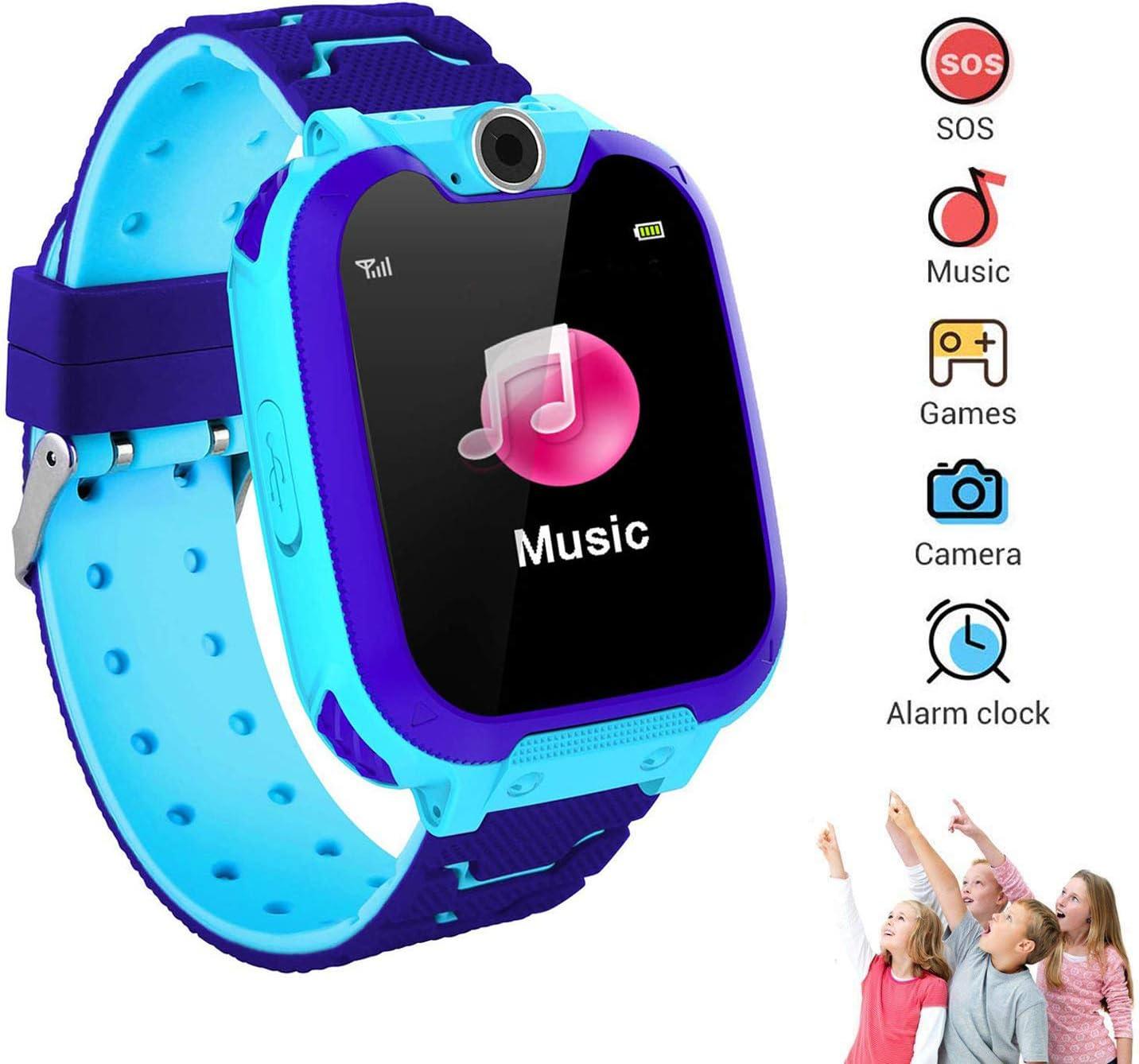 Winnes Reloj Inteligente para Niños, Niña La Musica y 7 Juegos Smart Watch Phone, 2 Vías Llamada Despertador de Cámara para Reloj Niño y Niña 3-12 años (Azul)