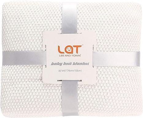 LAT Couverture pour B/éb/é Gigoteuses Tricot/ée en 103/% Coton pour Poussette Naissance Nouveau-N/é Cadeau Naissance Fille et Gar/çon