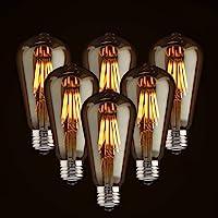 LED regulable clásico Edison foco 6W estilo antiguo, 2700K, Blanco cálido (ámbar vidrio), squarrel Cage filamento, ST64, E26Base, 6 unidades - 6W, 6 Pack - 6W
