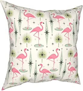 FuJae Throw Pillow Covers,Retro Atomic Oasis with Pink Flamingos Home Decorative Couch Pillow Cases Square Cushion Covers for Sofa,Living Room,Bed 18 x 18 inches