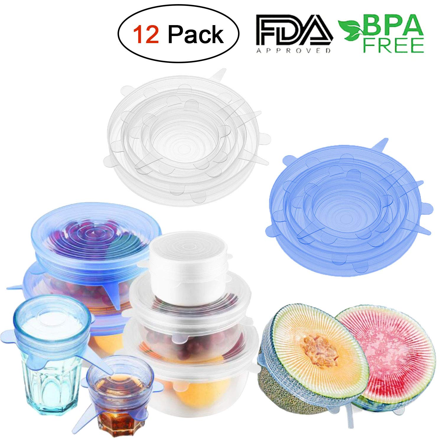 Silicone Stretch Lids 12 Packs Reusable, Durable and Expandable Silicone Covers Fresh Food Cover Fit Various Sizes and Shapes of Containers for Keeping Food Fresh, Dishwasher and Freezer Safe