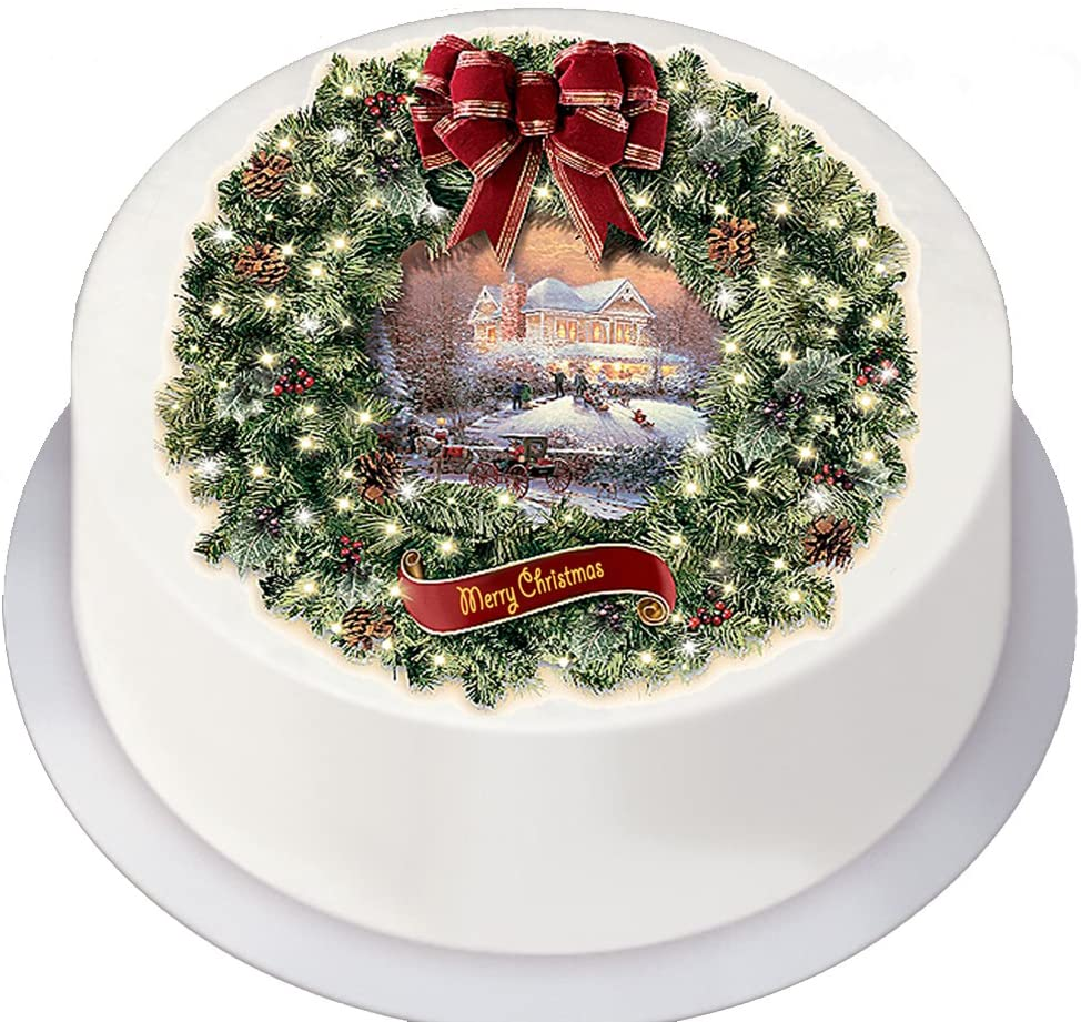 Christmas Vintage Traditional Style Wreath On Decor Icing Sheet Edible Cake Topper Perfect For Decorating Larger Cakes Amazon Co Uk Kitchen Home