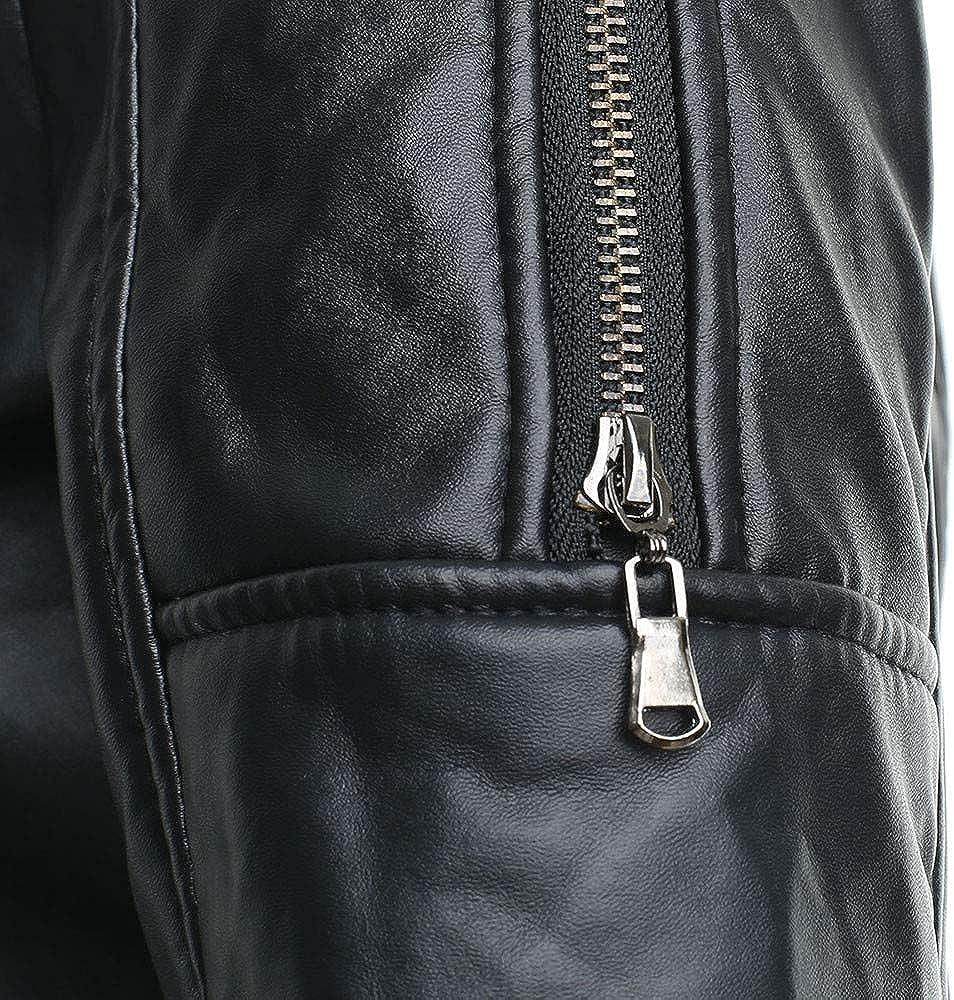 Hattfart Womens Lapel Faux Fur Fleece Lined Parka Warm Winter Shearling Coat Leather Jacket