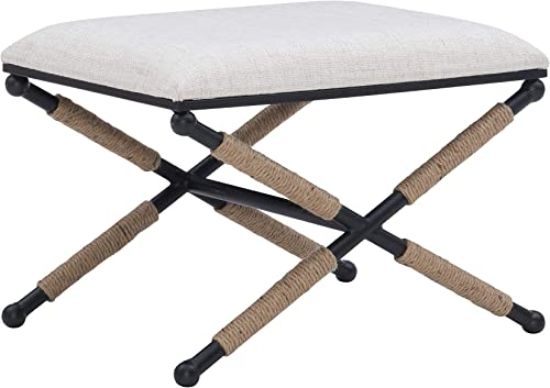 Linon Home D cor Farrow Campaign Accent Stool, Black