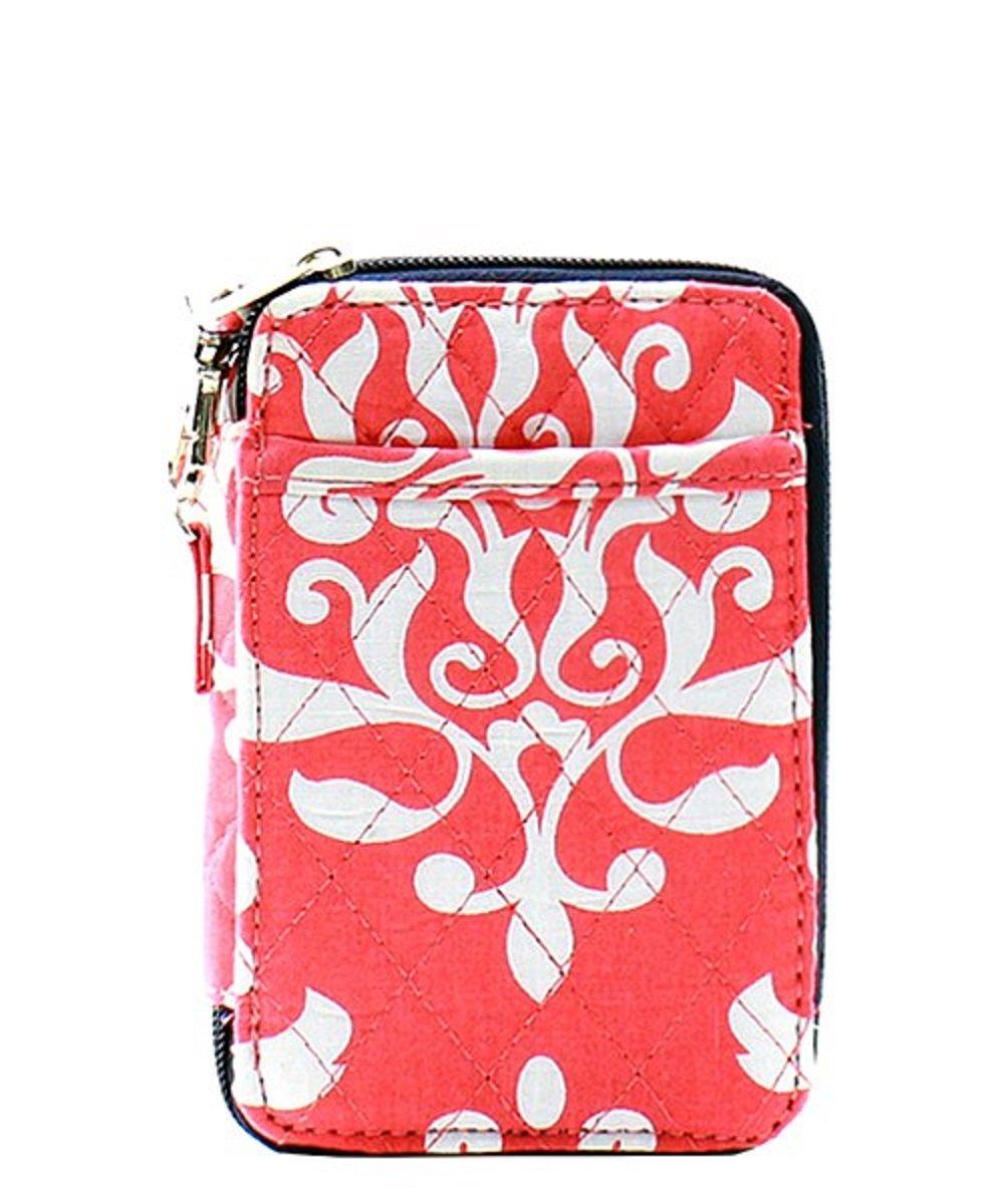 Damask Floral Bloom Print Quilted Mini Wallet Wristlet
