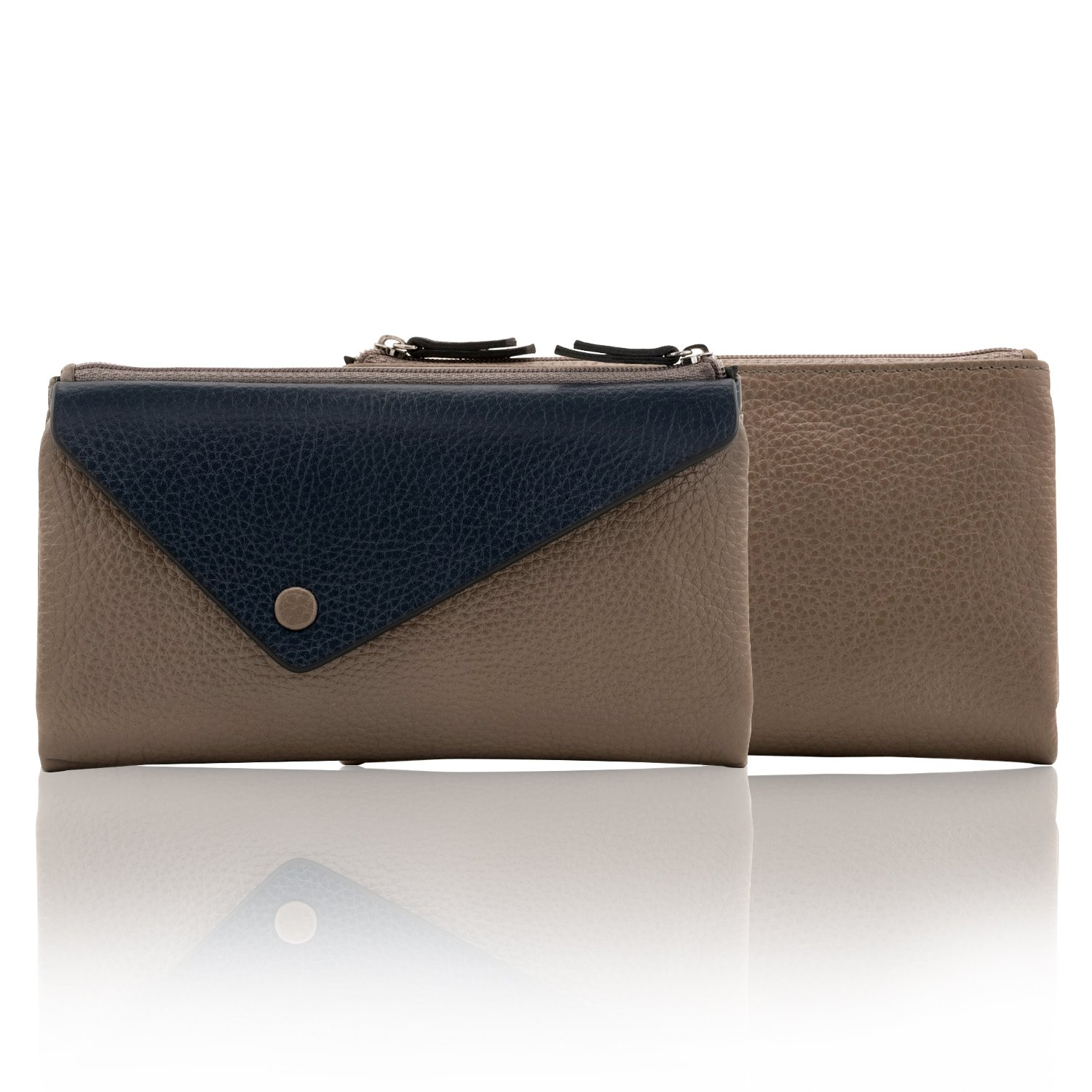 OTTO Genuine Leather Envelope Wallet with Phone Compatible Slots - RFID Blocking - Unisex (Navy Blue & Mink) by OTTO Leather (Image #6)