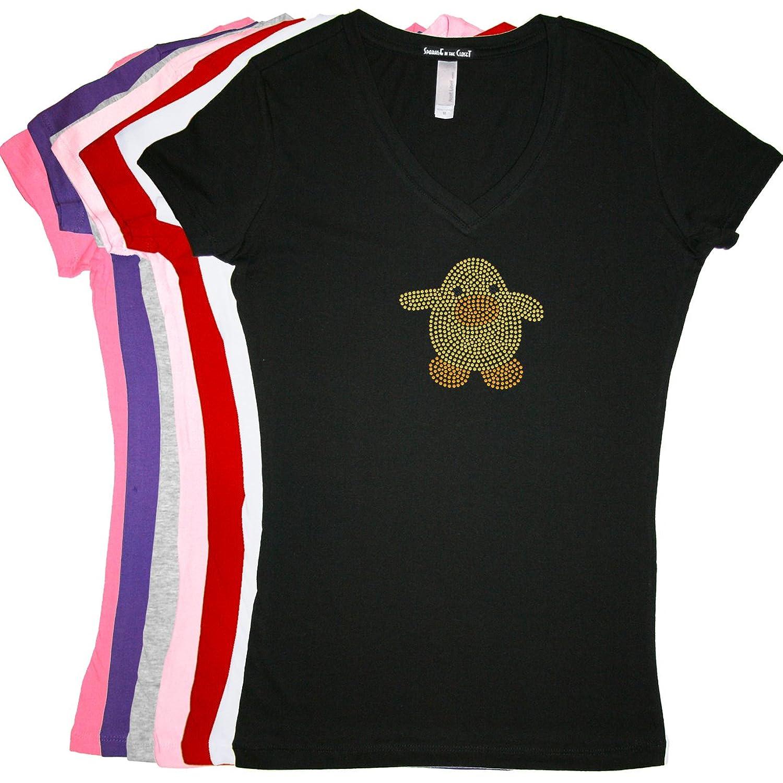 Easter Duck - LADIES V-NECK Rhinestone T-shirt