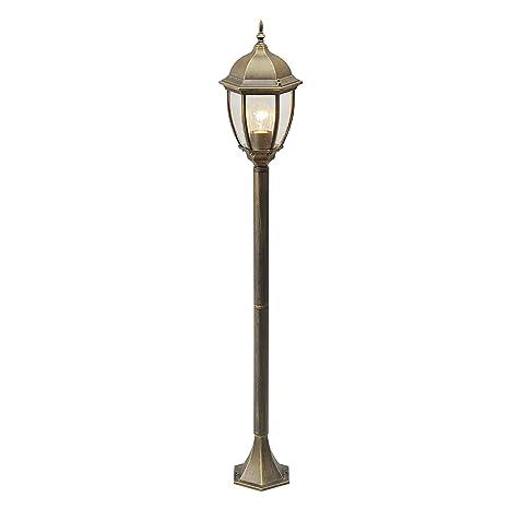 Mw Light 804040501 Lampadaire Exterieur Design Classique En Metal Couleur Or Patine Abat Jour En Verre Pour Jardin Terrasse Ip44 1x95w E27