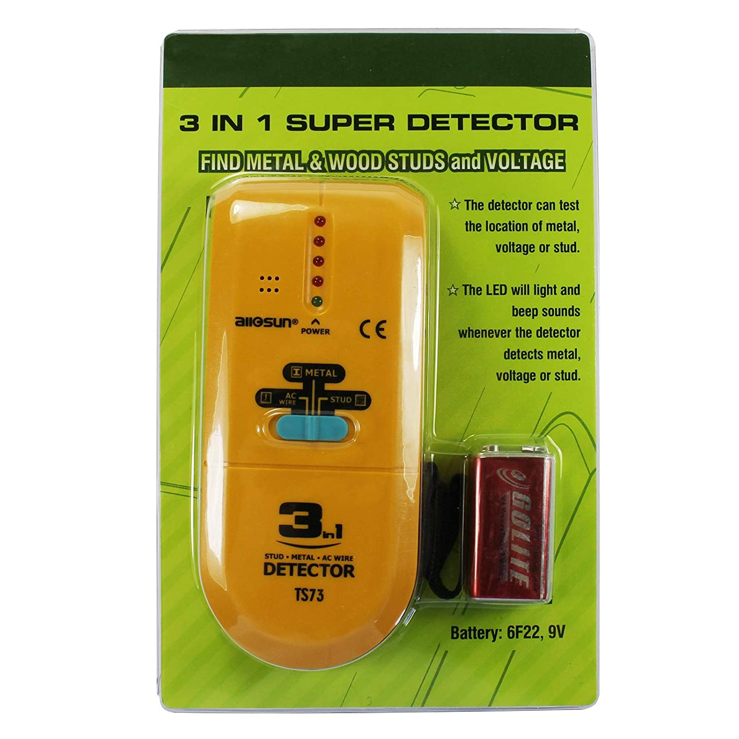 all-sun 3 en 1 detector de metal LED madera localizador de CA Cable Tracker: Amazon.es: Jardín