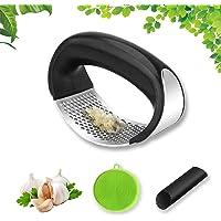 Prensa Ajos de cocina, Garlic Press de acero inoxidable Prensa Manual de Ajos Trituradora de ajos, Con Esponja de…