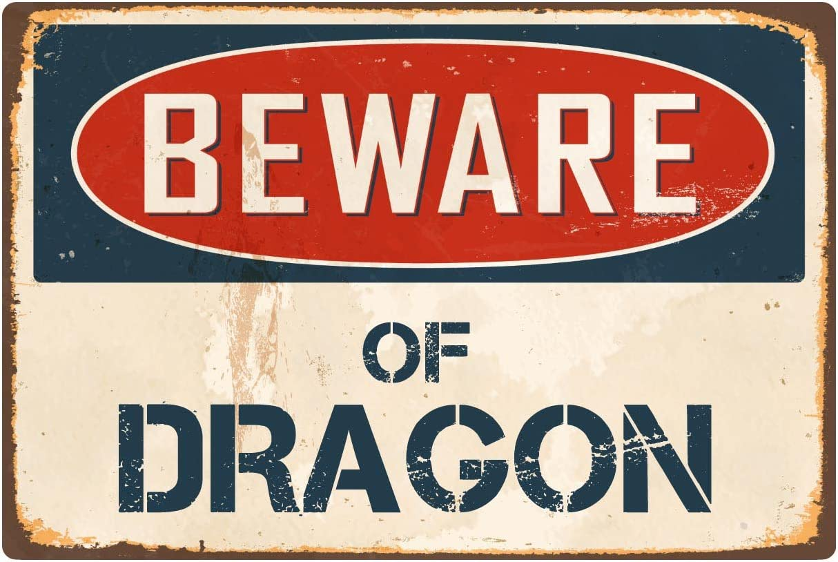 "StickerPirate Beware of Dragon 1 8"" x 12"" Vintage Aluminum Retro Metal Sign VS145"
