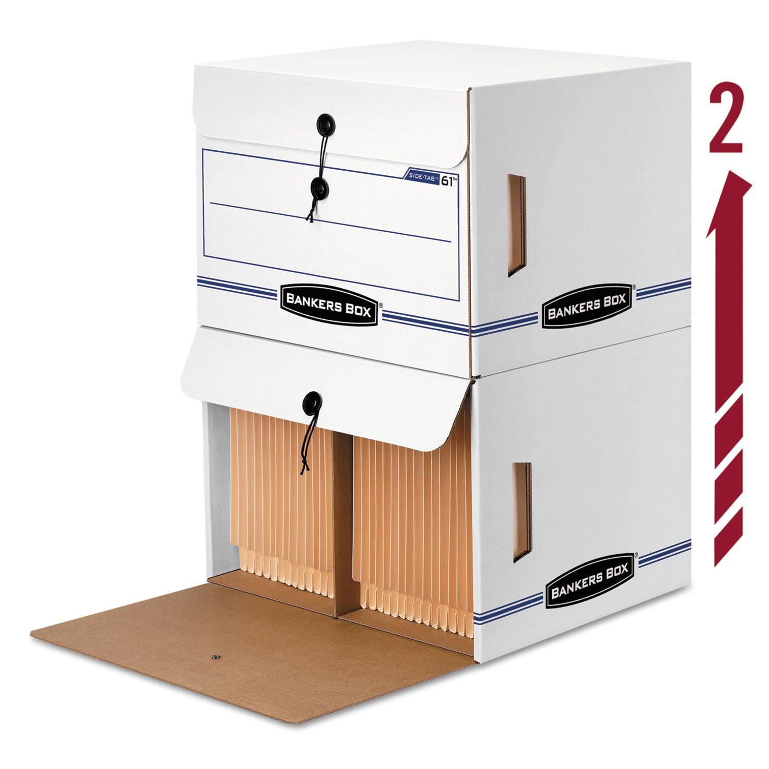 Bankers Box 00061 - Side-Tab File Storage Box, Letter, 15-1/4 x 13-1/2 x 10-3/4, White/Blue, 12/Ctn-FEL00061