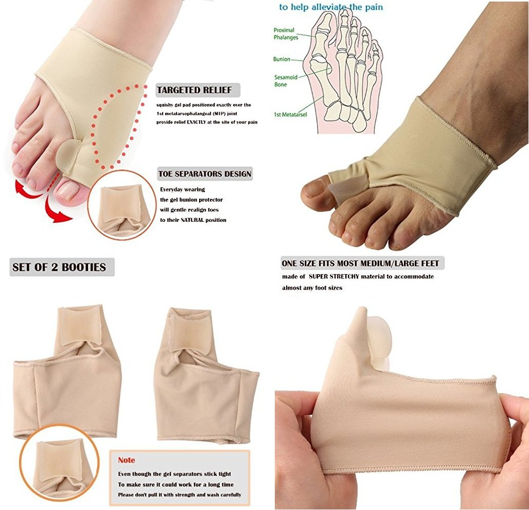 Bunion Pads,Bunion Corrector Toe Protectors Bunion Gel Pad Spandex Bunion Toe Strengtheners Spreader with 2 Booties 1 Pair by Yosoo