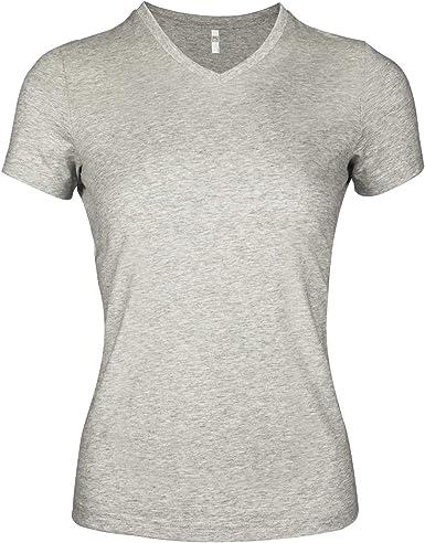 LECKIRUT camisetas básicas de algodón con cuello en V y manga corta para mujer - Gris - S: Amazon.es: Ropa y accesorios