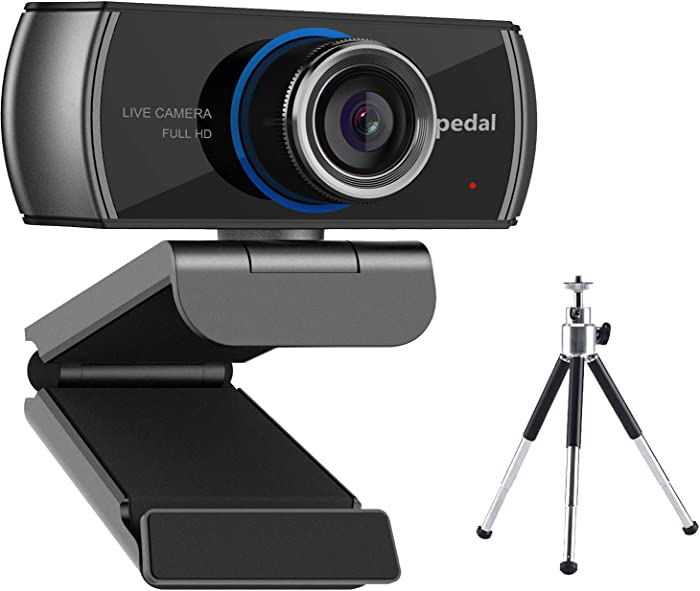 Webcam with Tripod, Hd Webcam 1080p, USB Webcam with Microphone Computer Camera for Zoom OBS Xbox Xsplit Skype and Facebook, Streaming Web Cameras for PC, Laptop, Desktop, MAC