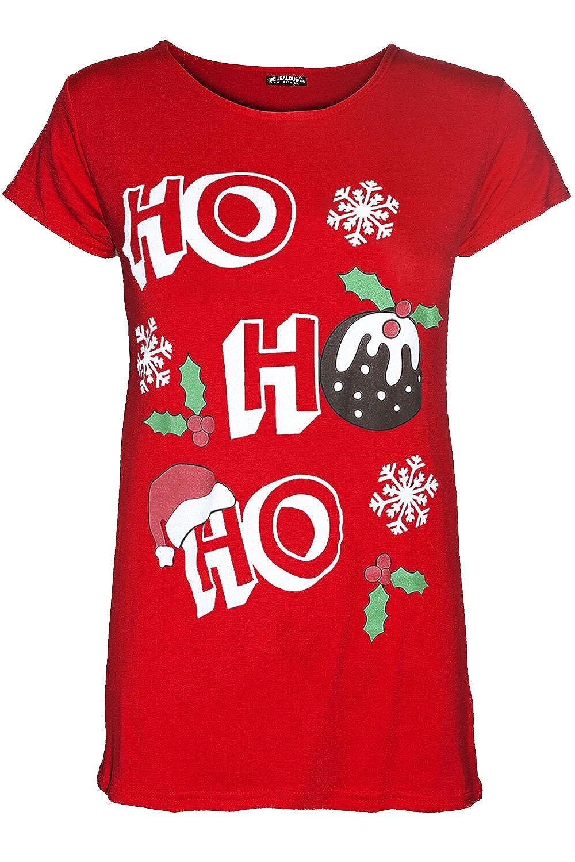 Be Jealous Womens Christmas Cap Sleeve HO HO HO Hat Snowflake Ladies Stretchy T Shirt Top UK Plus Size 8-26