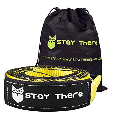 Stay There 3'' x 20ft Tow Recovery Strap, Lab Tested 30000lb Break Strength with Reinforced Loops Built for Off-Roading, mud, Snow and Other Emergency Towing: Automotive