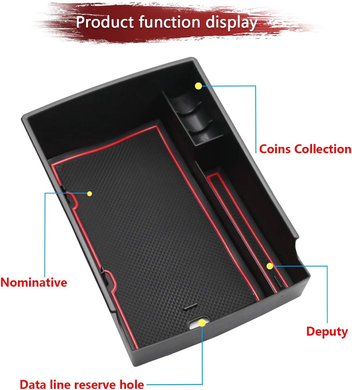 LFOTPP Bracciolo Vano Portaoggetti per Kona Electric EV Secondario Organizzatore Braccioli Scatola di Immagazzinaggio Auto Accessori