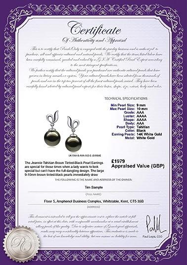 Perla negra Jeannie Negro 9-10mm Calidad AAA Pendientes de ...