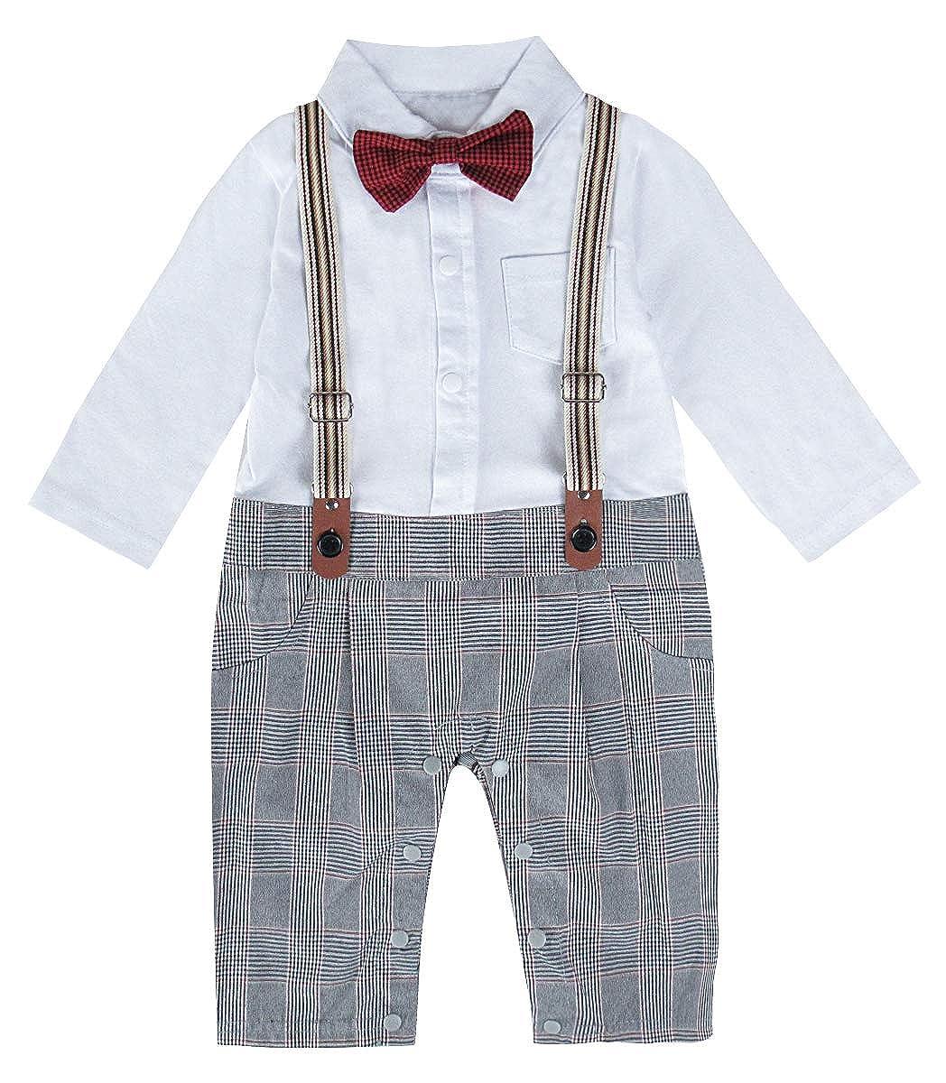A& J Design Un-parti dei neonati pagliaccetto Tuxedo Outfit che coprono insieme con il Bowknot per nozze Battesimo Compleanno