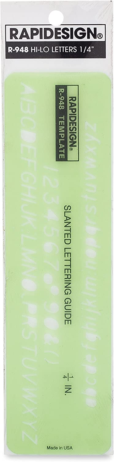 1 Each Rapidesign Gothic Slant Hi-Lo Letter and Number Template R948 1//4 Inch Size
