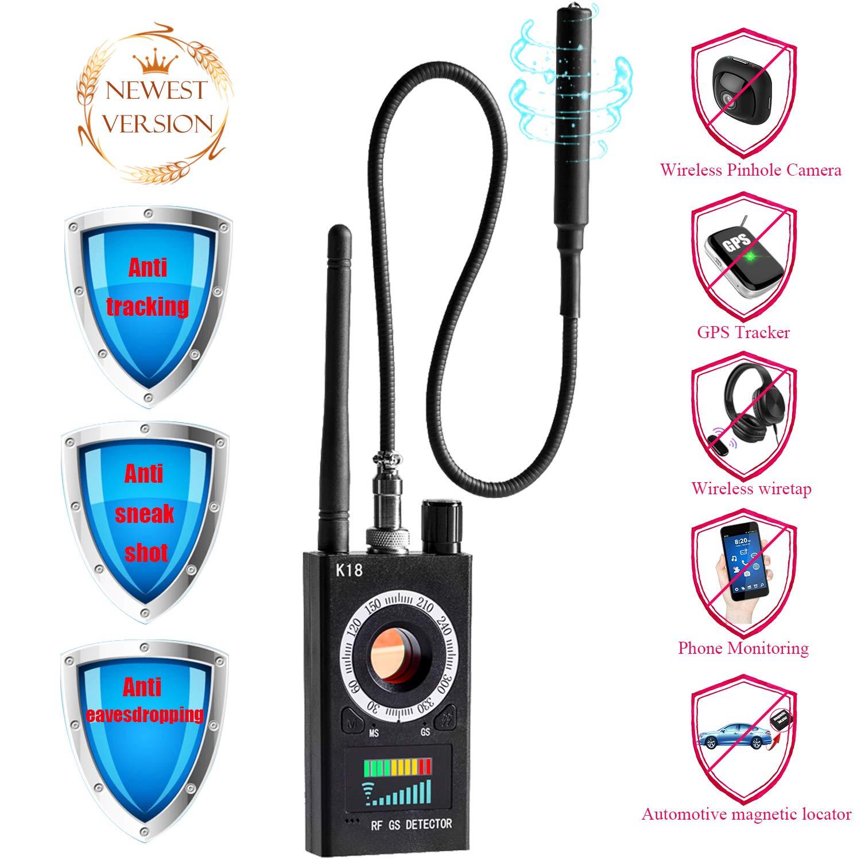 Bug Detector rf Signal Detector Anti Spy Detector Hidden Camera Pinhole Laser GSM Device Car GPS Tracker Anti Eavesdropping Sensitivity Multi-Function RF Wireless Signal Finder Adjustable Detection