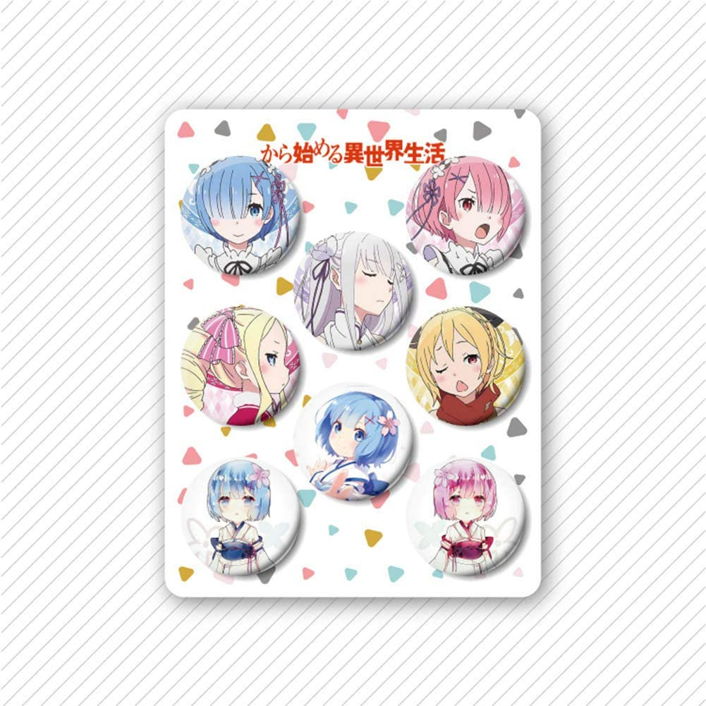 Raleighsee 8 Pcs//Set Anime Cartoon Round Metal Badge Set Collectible Brooch Pins Bag Accessories Anime Fans Gift Miss Kobayashis Dragon Maid